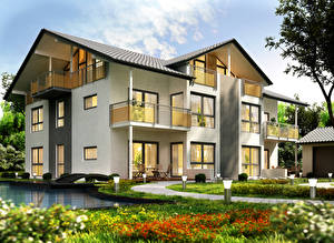 Обои Дома Ландшафт Дизайн Особняк Города 3D_Графика фото