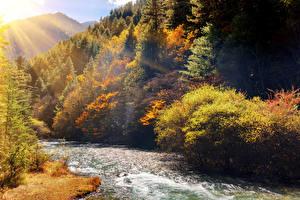 Фотография Китай Осень Парки Реки Леса Лучи света Jiuzhai Valley National Park Природа