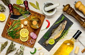 Картинка Рыба Овощи Укроп Лимоны Разделочная доска Масла Еда