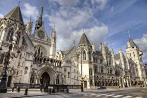 Фото Великобритания Дома Лондон Дизайн Уличные фонари Royal Courts of Justice Города