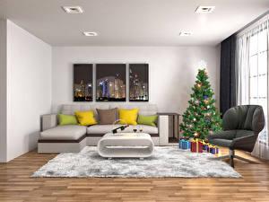 Обои Праздники Новый год Интерьер Диван Ковер Подушки Елка Кресло Подарки Потолок Комната Окно фото