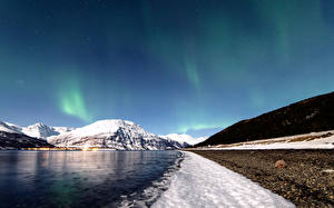 Фотографии Горы Небо Норвегия Реки Побережье Полярное сияние Снег