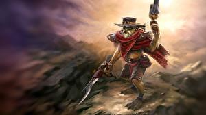 Обои DOTA 2 Bounty Hunter Воители Шляпа Игры Фэнтези фото