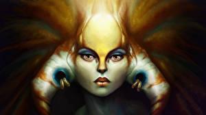 Обои DOTA 2 Naga Siren Сверхъестественные существа Лицо Взгляд Игры Фэнтези фото