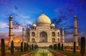 Обои Вечер Индия Тадж-Махал Небо Мечеть Купол Колонна Agra India Uttar Pradesh Города