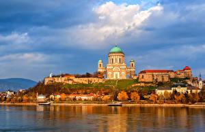 Обои Венгрия Здания Храм Реки Небо Осень Esztergom Города