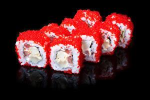 Фотографии Морепродукты Суши Икра Рис Продукты питания Еда