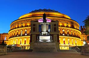Фото Великобритания Здания Памятники Вечер Лондоне Уличные фонари Royal Albert Hall
