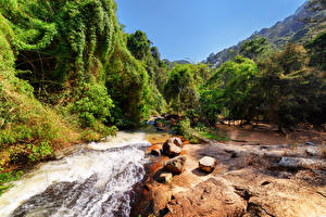 Обои Вьетнам Парки Реки Камни Деревья Природа фото