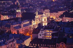 Фотографии Львов Украина Дома Ночь Башня
