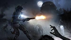 Картинки Rise of the Tomb Raider Сражения Зомби Ружьё Лара Крофт Стрельба Ночные Луна Игры Девушки
