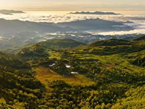 Обои Швейцария Пейзаж Горы Леса Сверху Природа фото