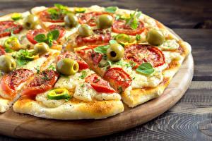 Обои Фастфуд Пицца Крупным планом Разделочная доска Еда фото