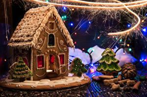 Обои Новый год Выпечка Дома Корица Пряничный домик Дизайн Гирлянда Бенгальские огни Еда