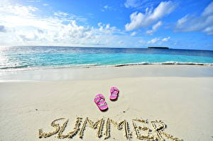 Обои Лето Побережье Море Небо Песок Пляж Природа фото