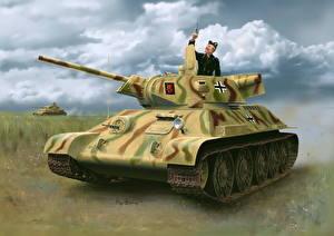 Картинка Танки Рисованные Т-34 Немецкий Pz.Kpfw. T-34-747(r) STZ Mod.1942 Late Prod. Армия