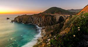 Обои США Побережье Мосты Калифорния Скала Bixby Bridge Monterey Природа фото