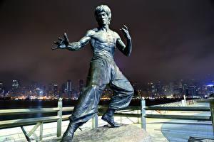 Обои Памятники Скульптуры Bruce Lee Гонконг Китай Города Знаменитости фото