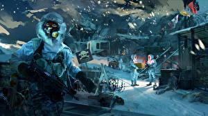 Обои Far Cry 4 Солдаты Зима Автоматы Снег Противогаз Игры фото