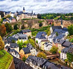 Обои Люксембург Дома Реки Мосты Luxembourg city Города фото