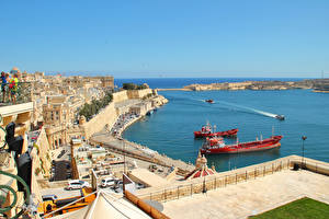 Обои Мальта Дома Море Причалы Корабли Побережье Valetta Города фото