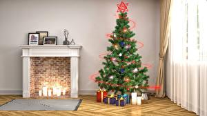 Обои Интерьер Новый год Свечи Камин Елка Гирлянда Подарки 3D Графика фото