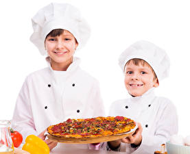 Картинка Пицца Мальчики Двое Повар Униформа Шапки Ребёнок