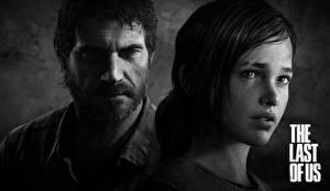 Обои The Last of Us Мужчины Двое Черно белое Лицо Бородатая неясыть Ellie, Joel Игры Девушки фото
