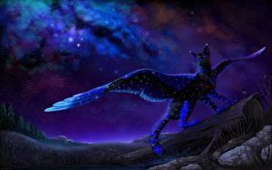 Обои Волшебные животные Кошки Крылья Ночь Фэнтези фото