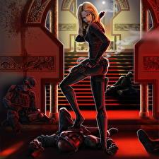 Фото Воины Солдаты Блондинка Лестница Мертвый труп Фантастика Девушки