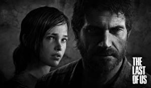 Обои The Last of Us Мужчины Двое Черно белое Лицо Борода Усы человека Joel, Ellie Игры Девушки фото
