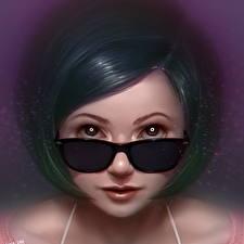 Обои Рисованные Лицо Взгляд Очки Брюнетка Девушки фото