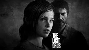 Картинки The Last of Us Мужчины Двое Черно белое Лицо Ellie, Joel Игры Девушки