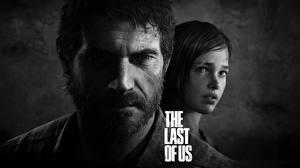 Картинка The Last of Us Мужчины 2 Черно белое Лицо Борода Усы человека Joel, Ellie Игры Девушки