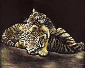 Обои Большие кошки Тигры Детеныши Рисованные Двое Черный фон Животные фото