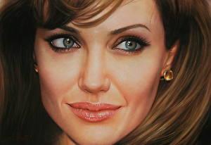 Обои Анджелина Джоли Рисованные Лицо Взгляд Знаменитости
