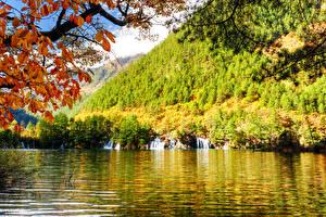 Фотографии Цзючжайгоу парк Китай Парк Осень Речка Водопады Леса Природа