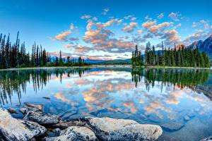 Обои Канада Пейзаж Парки Озеро Камень Облачно Джаспер парк Pyramid Lake Alberta
