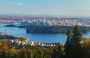 Картинка Канада Дома Реки Ванкувер Города