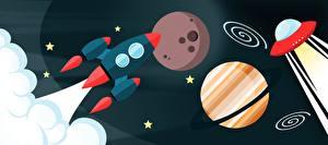 Обои Планеты Ракета Векторная графика Космос фото