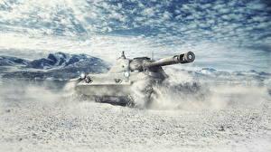 Обои World of Tanks Танки Зима Немецкий Снег Ru 251 Игры фото