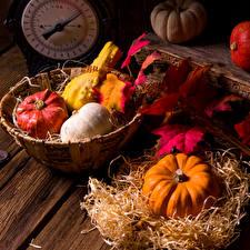 Обои Осень Тыква Листья Корзинка Еда фото