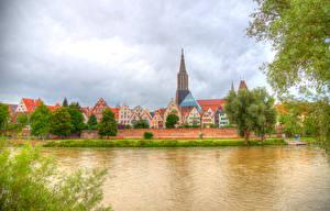 Картинки Германия Здания Речка HDRI Деревьев Ulm Города