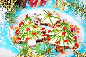 Фотография Новый год Бутерброды Елка Дизайн Еда