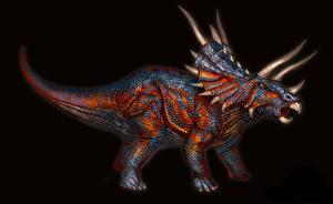 Картинка Древние животные Динозавры Трицератопсы Черный фон Рога Животные