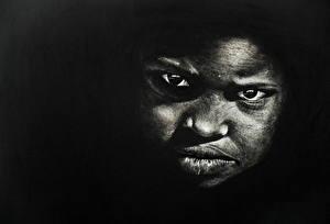 Обои Лицо Взгляд Негр Черно белое Дети фото