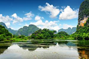 Обои Вьетнам Реки Пейзаж Горы Облака Скала Ninh Binh Province Природа фото