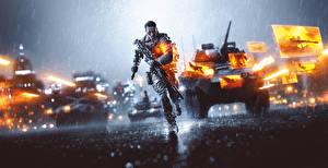 Обои Battlefield 4 Солдаты Дождь БТР Бег