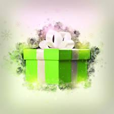 Фото Новый год Подарки Коробка Бантик