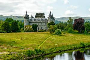 Обои Шотландия Замки Кусты Деревья Газон Inveraray Castle Города фото